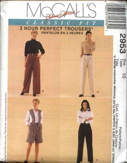 McCall's Sewing Pattern 2953 Misses Size 10 Classic Fit Long Pleated Pants Shorts Fitting Shell
