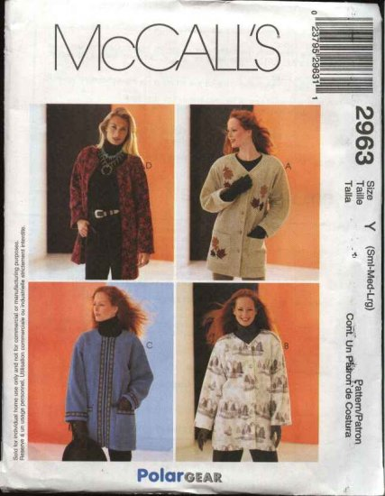 McCall's Sewing Pattern 2963 Misses Size 8-18 Polargear Fleece Button Zipper Front Jacket