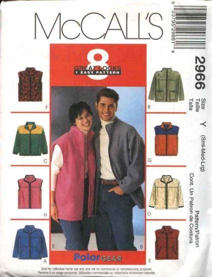 """McCall's Sewing Pattern 2966 P488 Misses Mens Unisex Chest Size 34-44"""" Easy Zipper Front Jacket Vest"""