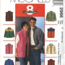 "McCall's Sewing Pattern 2966 Misses Mens Unisex Chest Size 46-52"" Easy Zipper Front Jacket Vest"