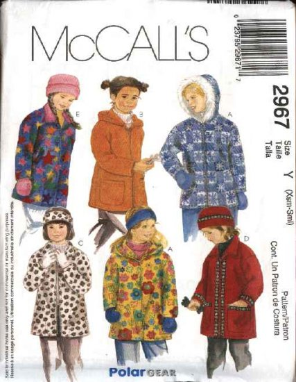 McCall's Sewing Pattern 2967 P290 Girls Size 3-6 Polargear Zipper Front Hooded Jacket Hat Mittens