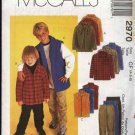 McCall's Sewing Pattern 2970 Boys Size 4-6 Zipper Front Hooded Jacket Vest Fitted Long Pants