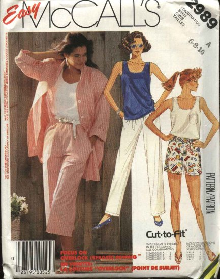 McCall�s Sewing Pattern 2989 Misses Size 6-8-10 Easy Wardrobe Shirt Knit Shell Top Shorts Pants