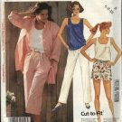 McCall's Sewing Pattern 2989 Misses Size 6-8-10 Easy Wardrobe Shirt Knit Shell Top Shorts Pants