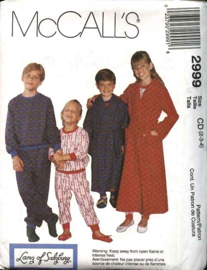 McCall's Sewing Pattern 2999 Boys Girls Size 4-6 Wrap Front Robe Pajamas Pullover Top Pull on Pants