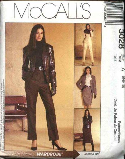 McCall's Sewing Pattern 3028 Misses Size 6-10 Wardrobe Jacket Blouse Skirt Pants Suit Pantsuit