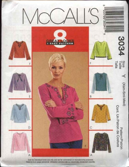 McCall's Sewing Pattern 3034 Misses Size 4-14 Easy Pullover Long Sleeve Woven or Knit Tops