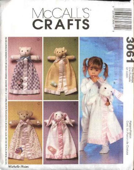 McCall�s Sewing Pattern 3061 Animal Face Blanket Buddies Security Blanket