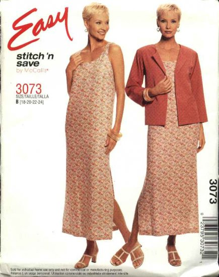 McCall's Sewing Pattern 3073 Misses Size 10-16 Easy Jacket  Sleeveless Long Straight Dress
