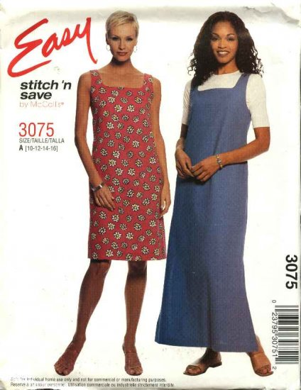 McCall's Sewing Pattern 3075 Misses Size 10-16 Easy A-line Short Long Dress Jumper