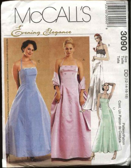 McCall's Sewing Pattern 3090 Misses Size 12-18 Evening Gown Formal Prom Halter Full Skirt Dress