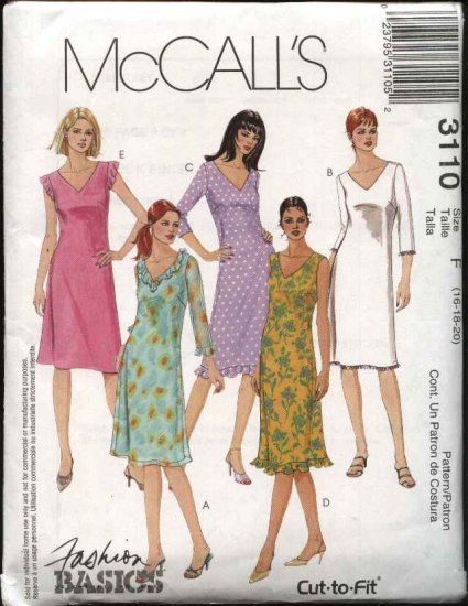 McCall's Sewing Pattern 3110 Misses Size 16-20 Basic A-Line Dress Overlay Sleeve Trim Variations