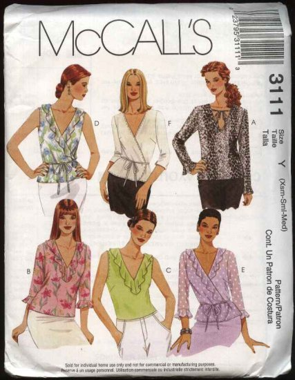 McCall's Sewing Pattern 3111 Misses Size 16-22 Pullover Front Wrap Blouses Tops