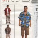 "McCall's Sewing Pattern 3126 Mens Chest Size 46-52"" Easy Button Front Shirt Cropped Pants Shorts"