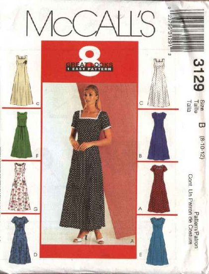 McCall's Sewing Pattern 3129 Misses Size 12-14-16 Easy Princess Seam Sleeveless Short Sleeve Dresses