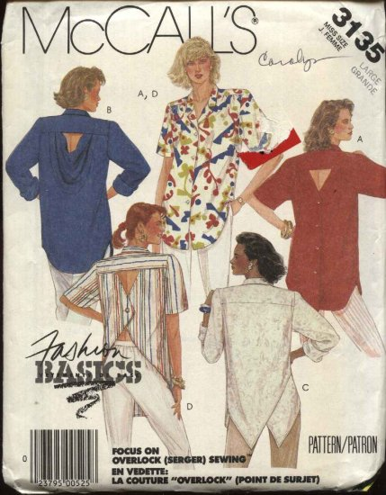 McCall�s Sewing Pattern 3135 Misses Size 18-20 Button Front Back Big Shirt Top