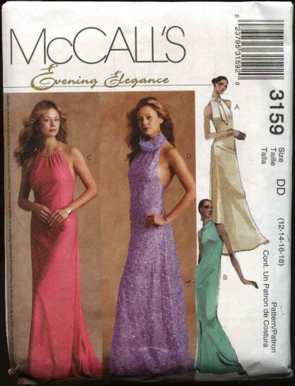 McCall's Sewing Pattern 3159 Misses Size 12-18 Halter Evening Gown Formal Prom Long Dress