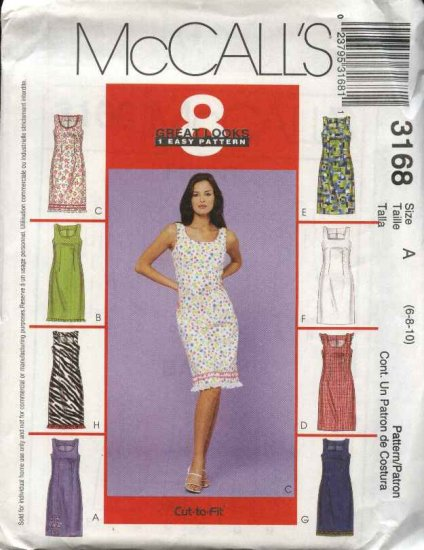 McCall's Sewing Pattern 3168 Misses Size 6-8-10 Easy Straight Sleeveless Summer Dress