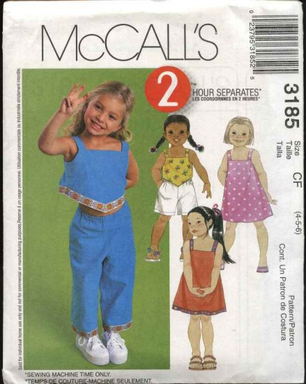 McCall's Sewing Pattern 3185 Girls Size 4-6 Wardrobe Pullover Dress Top Pull on Shorts Capri Pants