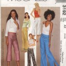 McCall's Sewing Pattern 3192 Misses Size 8-10-12 Low Rise Fitted Flared Long Cropped Pants