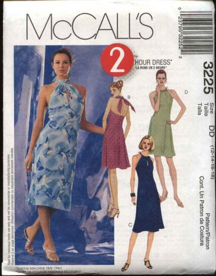 McCall's Sewing Pattern 3225 Misses Size 12-18 Halter Back Tie Short Summer Dress Sundress