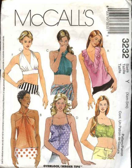 McCall's Sewing Pattern 3232 Misses Size 4-10 Pullover Halter Midriff Tops