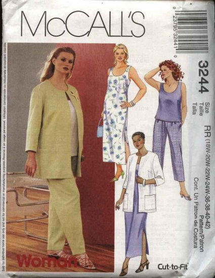 McCall's Sewing Pattern 3244 Womans Plus Size 18W-24W Wardrobe Jacket Dress Top Pants