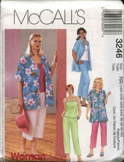McCall's Sewing Pattern 3246 Womans Plus Size 18W-24W Wardrobe Shirt Top Pants Capri