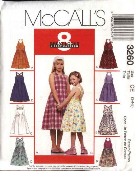 McCall's Sewing Pattern 3260 Girls Size 7-8-10 Easy Halter Sleeveless Summer Dress Sundress