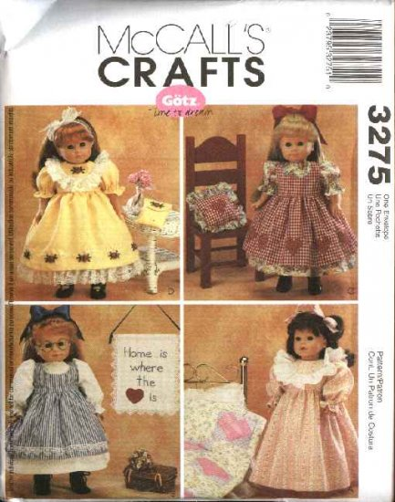 McCall�s Sewing Pattern 3275 Size 18� Gotz Doll Clothes Dress Pinafore Nightgown Purse Quilt