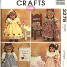 "McCall's Sewing Pattern 3275 Size 18"" Gotz Doll Clothes Dress Pinafore Nightgown Purse Quilt"
