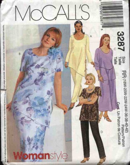 McCall�s® Sewing Pattern 3287 Womans Plus Size 18W-24W Wardrobe Skirt Pullover Tops Pants
