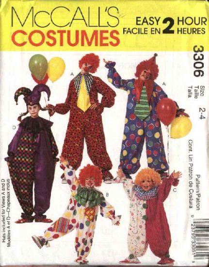 McCall's Sewing Pattern 3306 6142 Boys Girls Size 2-4 Easy Jumpsuit Clown Costumes Hats Bows Ties