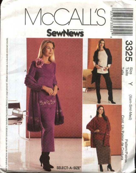 McCall's Sewing Pattern 3325 Misses  Size 4-14 Wardrobe Pullover Top Pants Skirt Shawl Embroidery