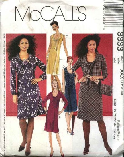 McCall's Sewing Pattern 3333 Misses Size 4-10 Bias Sleeveless Long Sleeve Dress Pull On Skirt Top