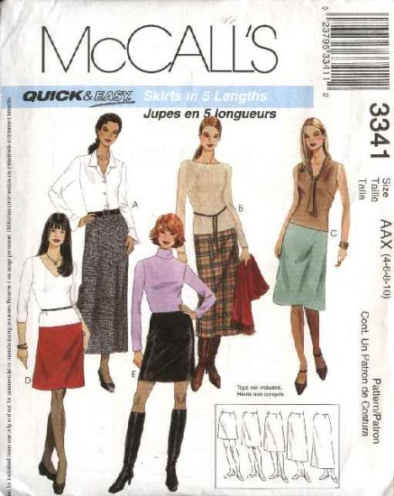 McCall's Sewing Pattern 3341 M3341 Misses Size 4-10 Easy Short Long Mini Fitted A-Line Skirts