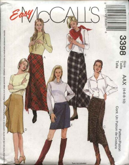McCall's Sewing Pattern 3398 Misses Size 4-10 Easy Front Wrap Bias Short Long Mini Skirts