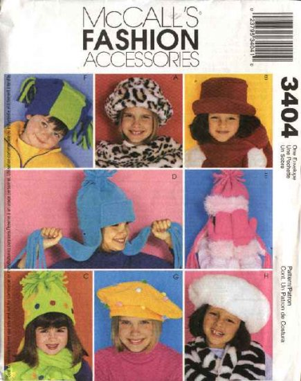McCall's Sewing Pattern 3404 M3404 Children's Boys Girls Scarf Mittens Faux Fur Fleece  Hats