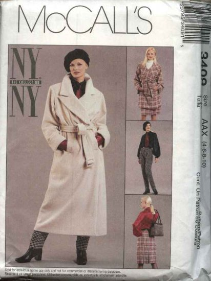 McCall's Sewing Pattern 3409 Misses Size 4-10 NYNY Wardrobe Coat Blouse Pants Pleated Skirt