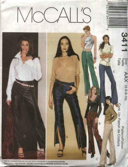 McCall's Sewing Pattern 3411 Misses Size 4-10 Fitted Low Rise Flared Leg Bell Bottom Pants