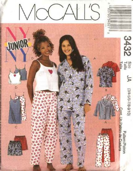 McCall's Sewing Pattern 3432 Junior Size 3/4 -9/10 Pajamas Camisole Nightgown Pants Shorts Shirt