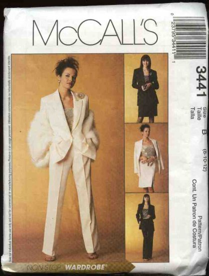 McCall's Sewing Pattern 3441 Misses Size 8-12 Wardrobe Lined Jacket Shell Top Pants Skirt