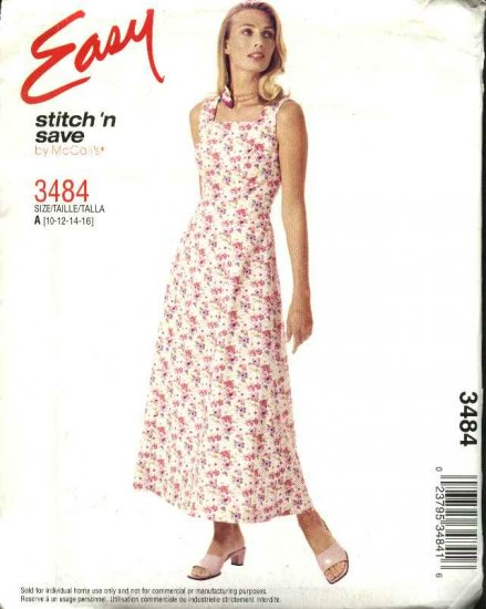 McCall's Sewing Pattern 3484 M3484 Misses Size 10-16 Easy Summer Sleeveless Princess Seam Dress