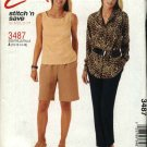 McCall's Sewing Pattern 3487 Misses Size 10-16 Easy Wardrobe Shorts Button Front Shirt Top Pants
