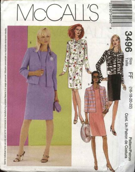 McCall's Sewing Pattern 3496 Misses Size 8-14 Sleeveless Straight Dress Button Front Jacket