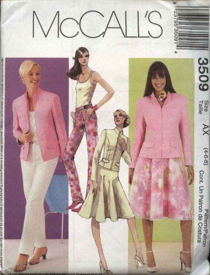 McCall's Sewing Pattern 3509 M3509 Misses Size 4-8 Wardrobe Jacket Top Pants Skirt