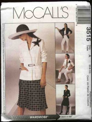 McCall's Sewing Pattern 3515 Misses Size 6-10 Wardrobe Lined Jacket Bias Skirt Long Pants