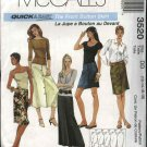McCall's Sewing Pattern 3520Misses Size 12-18 Easy Front Button Straight Short Long Skirt
