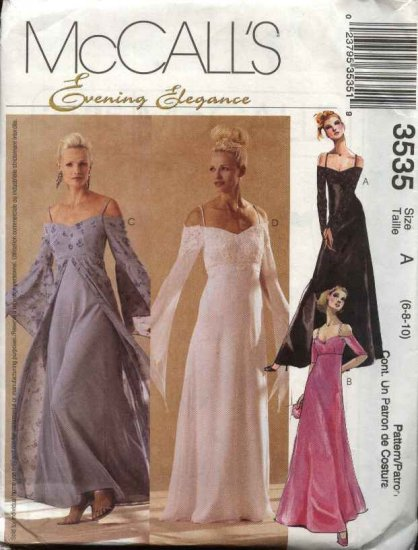 McCall's Sewing Pattern 3535 Misses Size 6-10 Evening Formal Prom Wedding Gown Bridal Dress