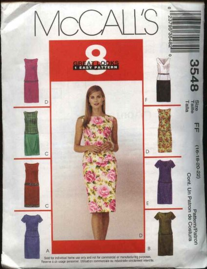 McCall's Sewing Pattern 3548 Misses Size 16-22 Easy Top Straight Skirt 2-Piece Dress